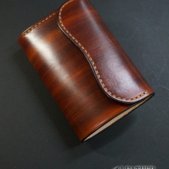 wood brown フラップ ミドルウォレット